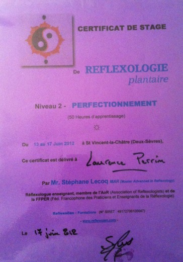 Certificat de niveau 2 en réflexologie plantaire