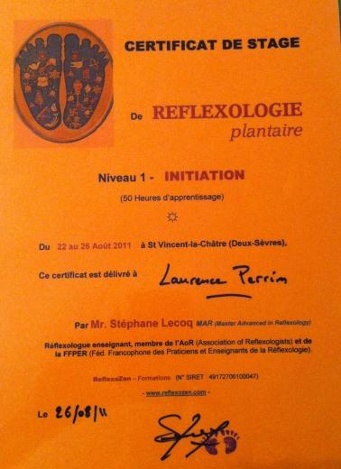 Certificat de niveau 1 en réflexologie plantaire